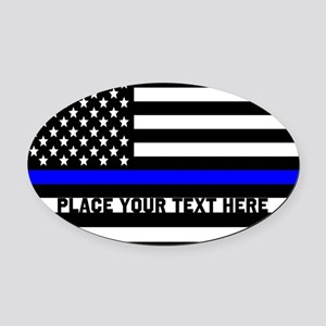 Thin Blue Line Flag Oval Car Magnet